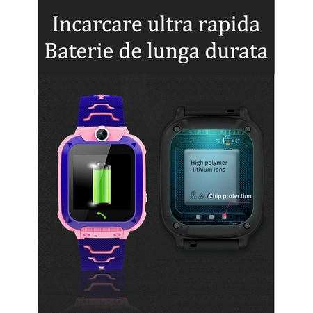 Ceas smartwatch copii GPS Q12, rezistent la apa, telefon, touchscreen, foto, monitorizare spion, buton SOS, albastru 3